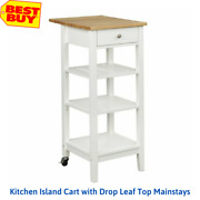 Kitchen Island Cart With Drop Leaf Top Mainstays