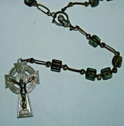 Connemara Marble And Celtic Type Crucifix Rosary Vintage