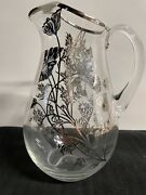 """Vintage Silver Overlay Glass Pitcher With Ice Lip 9""""as Is"""