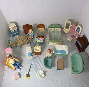 Vtg 1993 Lot Of 26 Fisher Price Loving Family Dollhouse Figures And Accessories