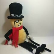 Mr. Peanut Plush 26 Planters Stuffed Doll With Scarf Cane And Tag 1991 Vintage