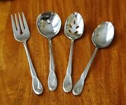 Lot 4 Oneida Calla Lily Serving Spoons Fork Stainless Deluxe Silverware Set 1