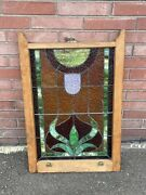 Antique Victorian Stained Glass Window Sash 24 1/8 X 34 1/2
