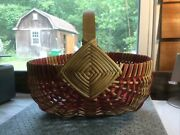 Vtg Woven Wicker Egg Gathering Buttock Style Basket - Red And Tan