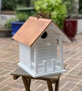 Nwt Restoration Hardware Large Copper Roof White Wooden Bird House Front Porch