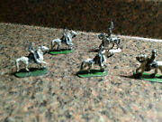 5 Vintage Miniature Toy Soldiers And Horse Lead Figures Equestrian Figurines