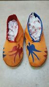 Hand Crafted Mens Size 9.5 Satin Covered Canvas Native American Indian Moccasins