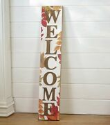 Autumn Welcome Sign With Fall Leaves - Farmhouse Front Door Harvest Decoration