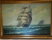 Antique T. Bailey Original Oil Painting Clipper Ship William Paskell Maritime