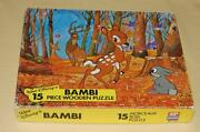 Vintage Walt Disney 15 Piece Bambi In Forest Wood Puzzle 1979 Made In England