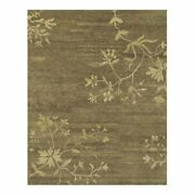 Feizy Cordonnet 9'6 X 13'6 Oriental Floral Hand Knot Wool Rug In Olive Green
