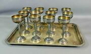 Set 12 Antique French Gh Silverplate Brass Liqueur Goblet Shot Cups Serving Tray