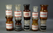 Antique Glass Crystal Amber Apothecary Bottle Jars Collection Black Poison Label