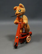 1960's Vintage Poland Wabis Tin Toy Cat Riding On Scooter Tricycle Wind Up Op.