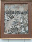 Studio Pottery Mary Kembery Early Wall Tile / Plaque/ Large Framed And Signed.