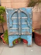 1700and039s Antique Wood Floral Carved Blue Color Castle 45 X 27and039and039 Old Jharoka Door