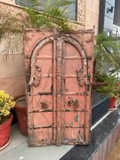 1700and039s Antique Wood Carved Painted Castle 49 X 28and039and039 Old Jharoka Door Iron Handle