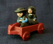 Vintage Cast Iron Amish Boy And Girl Figures In Red Wagon John Wright