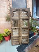 1700and039s Antique Rare Wood Carved Floral Iron Grill Castle 62 X 32and039and039jharoka Door