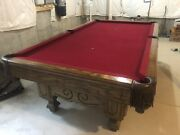 Loria Vintage Rare 1970andrsquos Solid Oak With 3 Pcand039s Of Slate Pool Table