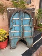 1700and039s Ancien Wood Carved Blue Rustic Painted Floral Castle 50 X 30and039and039arch Door