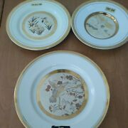 Set Of 3 Chokin Plates With Flowers And Birds 24k Gold