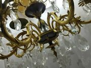 French Ornate Classic Brass Black Varnish Crystal 8 Arms Chandelier Fixture Lamp