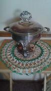 Vintage Eales 1779 Silver Plate Chafing Dish With Fire King Glass Insert