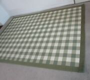 Ethan Allen 100 Wool Throw Rug, Provence Gingham, Green And White Check