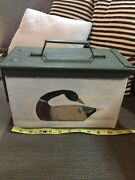 Ammo Box For Duck Hunting Handpainted Decoy. Metal Vgc