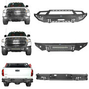 Front Rear Bumpers W/ Led Lights And D-rings Steel Black For Toyota Tundra 14-21