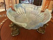 Magnificent 16 Vintage Murano Glass Bowl With Handcrafted Greek Sphinx Stand