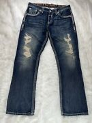 Rock Revival Mens Ethan T6 Straight Distressed Destroyed Flap Pocket Jeans Sz 36