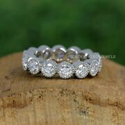 4.50 Mm Round Cut Near Colorless Moissanite Band/ Eternity Mil Grain Womens Band