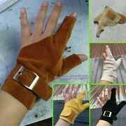 Archery Thumb Index Finger Gloves 2 Fingers Gloves Guard For Hold Push Bow Hand