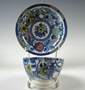 Antique Pearlware Glaze Salopian Staffordshire Polychrome Cup And Saucer