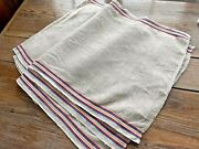 3 Vintage 40s Striped Nubby Taupe Linen Tea Dish Towels Toweling Pieces 18x31
