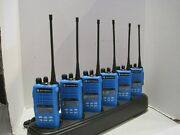 Lot Of 6 Motorola Ht1250 Ls+ Uhf 4w Two Way Radio Aah25sdh9dp5an W/gang Charger