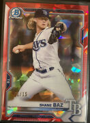 Shane Baz 2021 Bowman Chrome Sapphire Red Parallel Bcp-134 Tampa Bay Rays 1/15