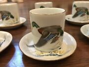 Ned Smith Espresso Shot Glasses With Saucers Set Of 6 Waterfowl Gold Trim 1979