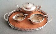 Edwardian Miniature Sterling Silver Tea Set And Tray -saunders And Shepherd Antique
