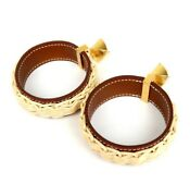 Hermes Medor Picnic Earrings Wicker Leather 10235 Free Shipping From Japan