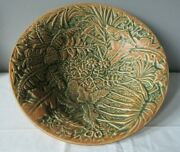 Weller Pottery Marvo Palm Tree1920's Matte Green And Terra Cotta Console Bowl 10.5
