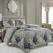 Wpm 3 Piece Animal Print Comforter With Pillow Sham Assorted Colors Sizes
