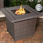 Outdoor Propane Gas Fire Pit Table Patio Wicker Burning Heater Cover Glass Brown