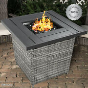 Outdoor Propane Gas Fire Pit Table Patio Wicker Burning Heater Cover Glass Gray