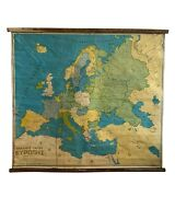 Vintage Europe Pull Down Map Rare Map Political School Map Old Chart Vintage