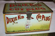 Antique Dixie Kid Cut Plug Tobacco Tin Litho Lunch Box Pail Can Country Store