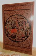 Antique Burmese Lacquerwarehand Engraved Wall Artrare Large Size24 X 36 Inch
