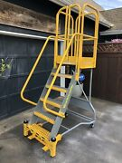 Cotterman Workmaster 6 Step Rolling Warehouse Ladder W/ Cage - Nice